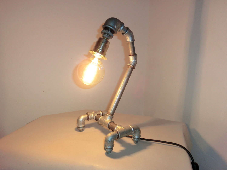 tischlampe idustrial industrie pipe lamp rohr designer lampe. Black Bedroom Furniture Sets. Home Design Ideas