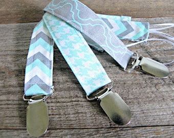 Baby Boy Pacifier Clips, Aqua and Grey, Binky Clips