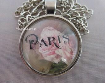 Cabochonkette, Anhänger, Kette, Paris, Rose, Romantik, Verspielt, Geschenk Frau Freundin Tochter,