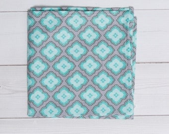 Mens Pocket Square, Teal and White Floral Pattern, Flower Pattern, mens handkerchief, Suit Accessory, mens hankie, Floral design, hand made
