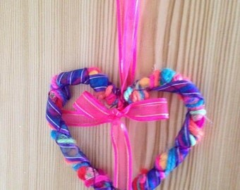 Multicoloured hanging hearts
