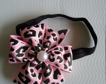 Pink animal print headband