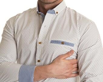 Men's white and blue polka dot business shirt