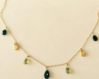 Teal Blue Quartz Necklace, Peridot Briolette  Necklace ,August Birthstone, Wedding Gift, birthday Gift