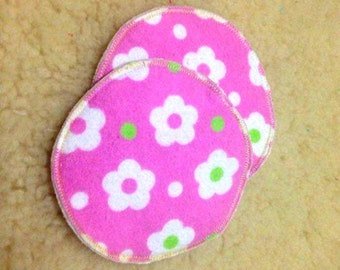Reusable Breast Pads - Washable Breast Pads - Patterned Breast Pads - Floral Breast Pads - Bamboo Breast Pads - Pink Floral Breast Pads