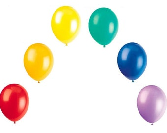 18 x Rainbow Latex Balloons - 3 each of Red, Orange, Yellow, Green, Blue, & Lavender - Pride GLBT - Birthday Party Barbeque