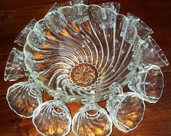 HAZEL ATLAS GLASS - Colonial Swirl Punch Bowl w/12 Open Handle Cups Set