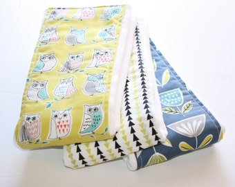 Baby Burp Cloths - Set of 3 - Monaluna Owls, Triangles and Modern Flowers