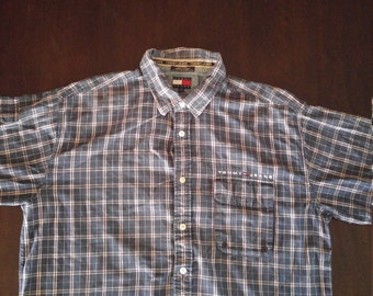 Tommy Hilfiger Tommy jeans button up short sleeve plaid mens shirt