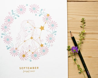 Virgo Constellation Print with gold details