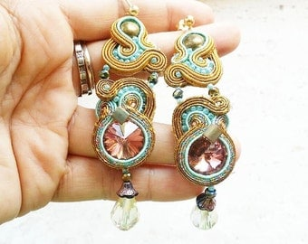 Soutache earrings in shades of teal, pink and gold, with swarovski crystals