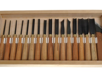 Set of 17 high quality carving chisels, wood carving chisels, professional carving chisels