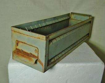 Vintage Shabby Metal Drawer Industrial Salvage Heavy Steel Storage Shaped Vented