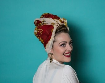 Olde Worlde style turban vintage scarf headscarf wrap with baroque rococo style pattern on gold red and white polyester cotton feel xlge