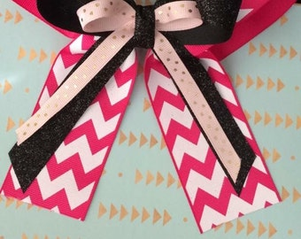 Chevron pink bow