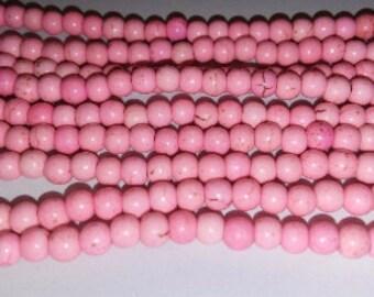 SALE! Pink howlite beads light pink howlite bead pale pink howlite bead 4mm howlite beads 4mm pink beads
