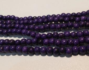 Purple stone beads howlite beads purple howlite beads 4mm round beads 4mm stone beads 4mm purple beads