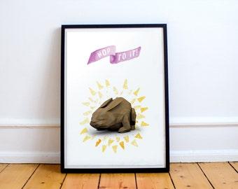 "Bunny Rabbit Poster - ""Hop To It!"" Printable Wall Art"