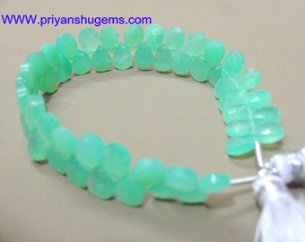 Full 6 Inch Strand length Superb Quality Chrysoprase Faceted Pear shape Briolettes Beads, 5*7 mm size