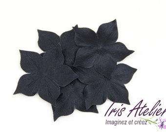 Flowers in black silk satin - haberdashery scrapbooking sewing jewelry wedding evening dress