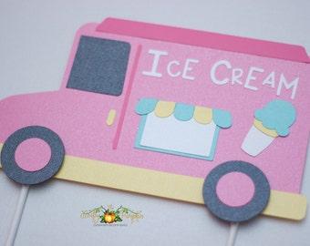 Ice Cream Truck Cake Topper, Ice Cream Theme Cake Topper, Ice Cream Truck Centerpiece, Ice Cream Theme Centerpiece