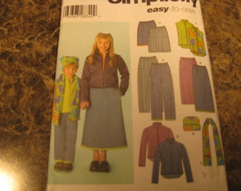 Boss cut Simplicity 4836 pants, skirt, jacket or vest and hat for girl's 14 largest size