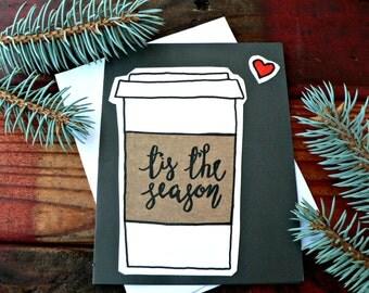 Cute Christmas Card - Handmade Card - tis the season - Blank Card