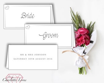 Wedding Name Cards - Name Place Cards - Wedding Place Cards - Table Decorations - Printed Place Cards - Download Digital File
