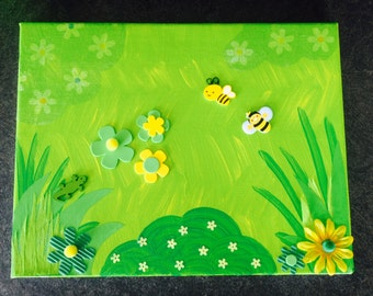 Table bees painting flower fields