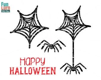 spider web SVG, Halloween SVG, Happy Halloween, spider, cobweb, svg,dxf, png, eps files , cameo file, cricut file