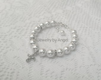 Baby Cross Bracelet Baptism Jewelry Girls Christening Gifts, Cross Charm,First Communion, White Pearls, Confirmation