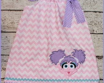 Super Cute Abby Cadabby Sesame Street  Pillowcase style dress Pink Chevron and Purple polka dot girls dress