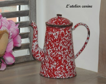 Red and white speckled enameled jug jug enamelled red and white