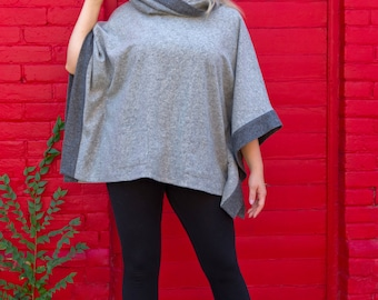 Handcrafted poncho/plus size poncho/100%wool poncho