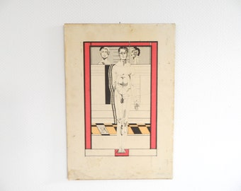 Vintage Anatomy woodblock, old picture, image, anatomy picture