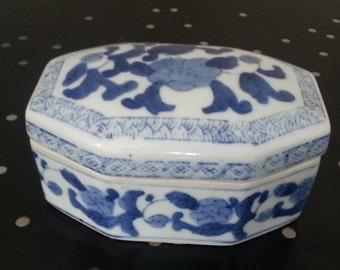 Blue on white porcelain ceramic box