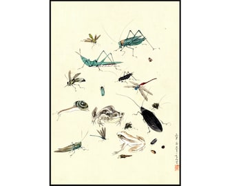 Insects Vintage Print - Insects Digital Print - Frogs - Snails - Japanese Vintage Print - Japanese Art - Ukiyo-e - Digital Download