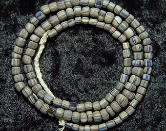 Mystical Indo Pacific Blue & White Stripe Colorful Bead Trade Wind Tribal Strand #2769