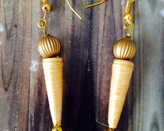 Gold Paper bead  Earrings Hands Made