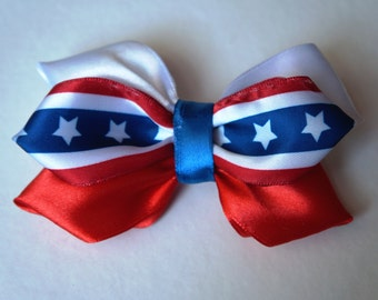 4th July Patriotic Hair Bow with Alligator Clip