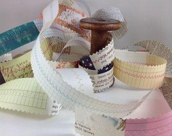 Paper Ribbon, Paper Scrap Ribbon, Paper Ribbon, Paper Embellishment, , Handmade Ribbon, Vintage Paper Ribbon