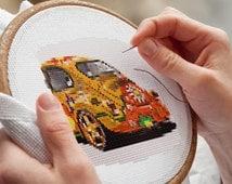 YELLOW CAR Cross Stitching pattern, Cars Cartoon, Needlecraft, Instant PDF download