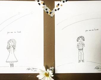 You are So Loved - 2 Print set -Hand Drawn, Pen and Ink, Art Print, illustration, Wall art, kids art, kids room art