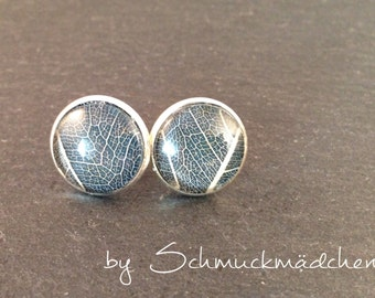 Earrings silver leaf blue