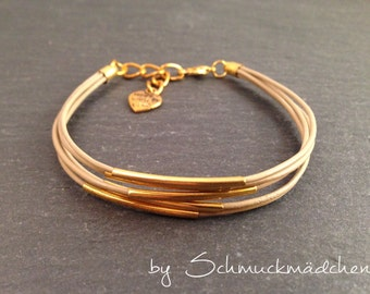 Gold beige leather bracelet