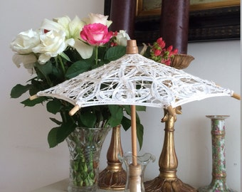Vintage Hand Made Minature Parasol Antique Doll Brussels Lace Bamboo Frame