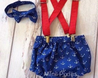 1st year baby boy cake smash outfit, anchors cakesmash birthday set, suspenders bow tie and diaper cover
