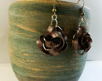 """Rose bronze"" earrings"
