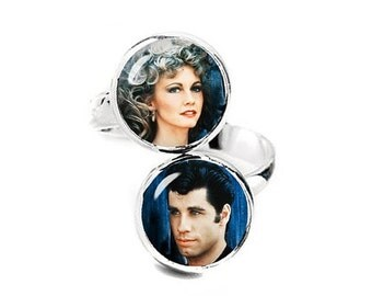 Sandy And Danny Grease Double Ring Adjustable ring Geeky Jewelry Fanboy Fangirl
