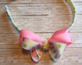 Beige and pink headband, girls headband, plastic headband